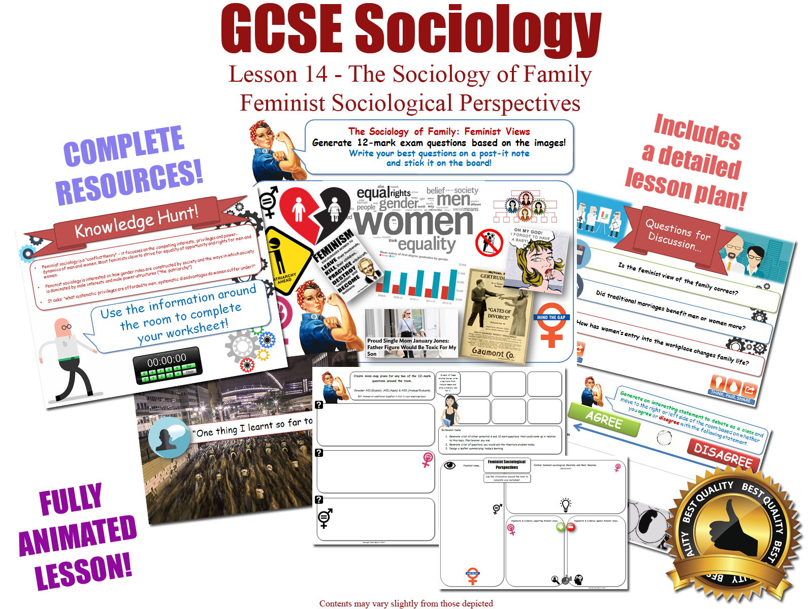 GCSE Sociology - Feminist Perspectives Bundle (AQA) 4 x Complete lessons
