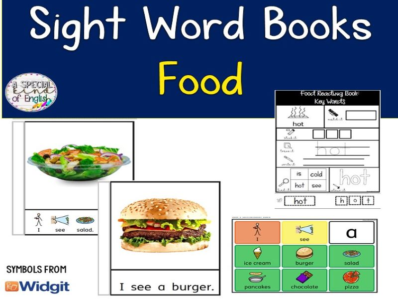 Sight Word Book - Food: symbol support and text only