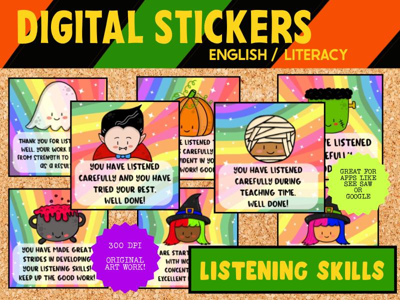 Digital Stickers RewardFor SeeSaw & Google - Listening - Halloween Theme