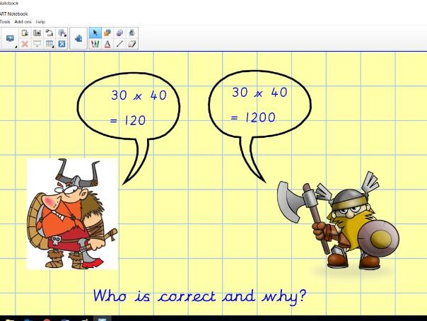 Notebook - Using multiplication facts to derive others