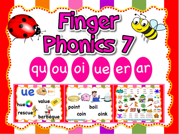 Jolly Phonics 7 - qu, ou, oi, ue, er, ar - Animated PPT (23 slides)