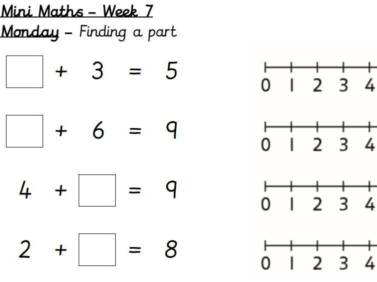 Weekly mini-maths, Year 1, Autumn Term
