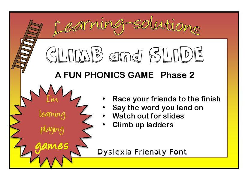 CLIMB AND SLIDE BOARD GAMES - Phonics - Phase 2 - Long vowels and Blends