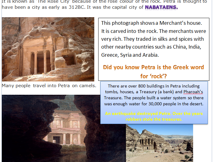 KS1&2 Ancient City of Petra Information Leaflet