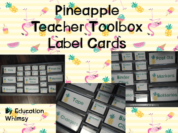 Pineapple Teacher Toolbox Label Cards
