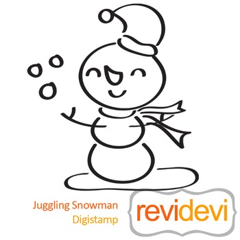 Junggling snowman (digital stamp, coloring image) S035