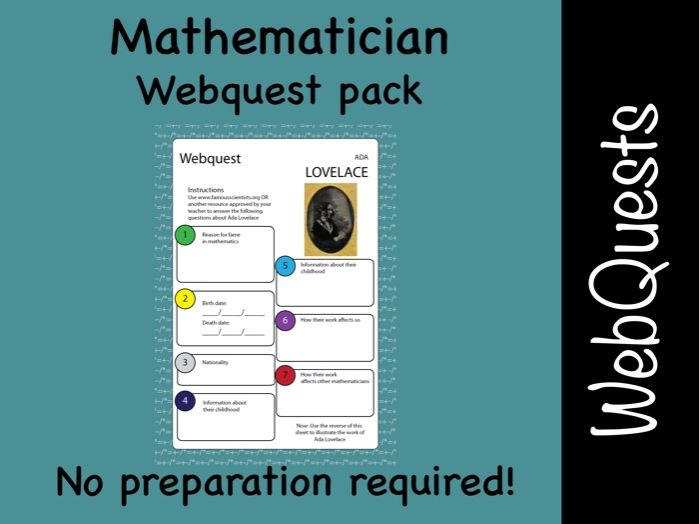 Mathematicians and maths Google web quest (webquest) pack