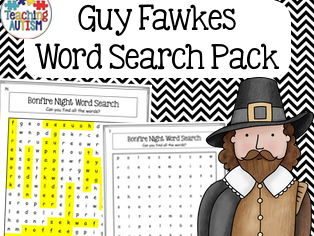 Guy Fawkes Word Search, Bonfire Night