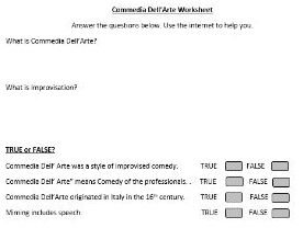 KS3 Drama home/distance learning worksheet: Commedia Dell'Arte Research Task