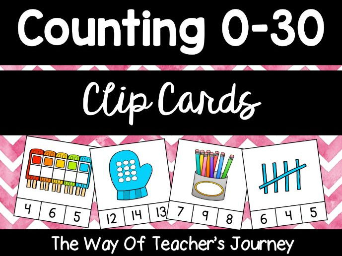 Counting Clip Cards 0-30 - Free for first time customers - Apply discount code SEPTEMBER-SAVER