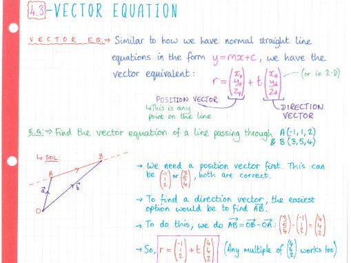 IB Maths SL - Topic 4 Vectors - Notes