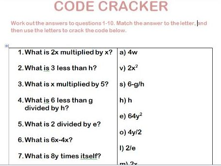 Code cracker starter to practise writing an expression