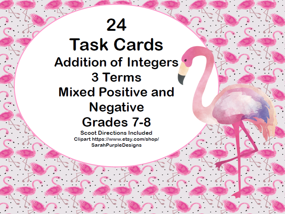 Addition of Integers-3 Terms-Mixed Positive and Negative-Task Cards-Grades 7-8