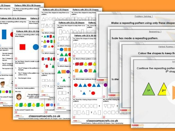 Year 1 Patterns with 2D and 3D Shapes Autumn Block 3 Step 5 Lesson Pack