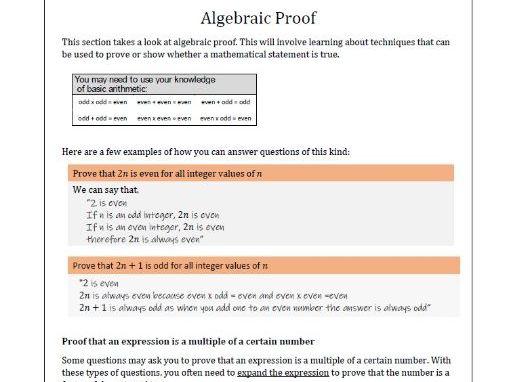 Algebraic proof summary handout