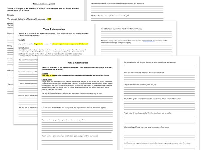 GCSE Citizenship Misconception Revision Sheets