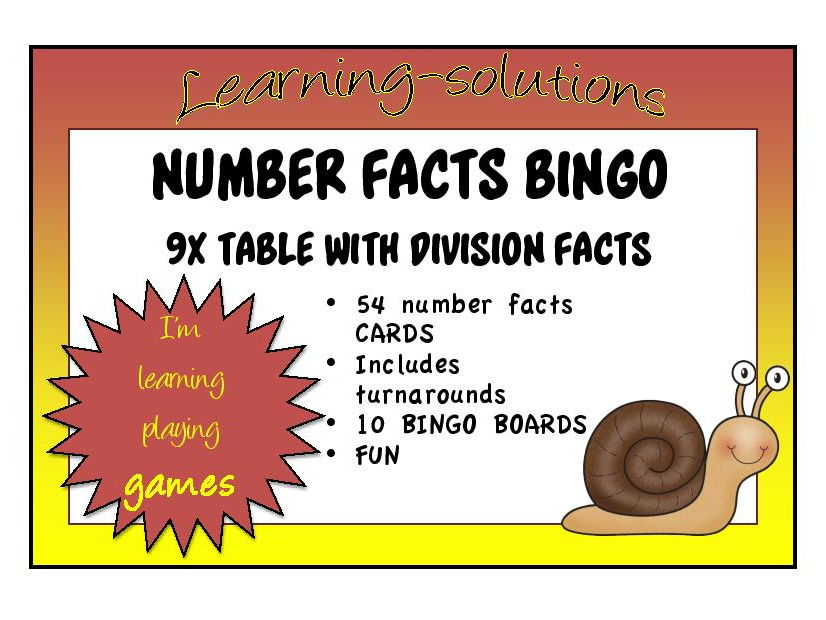 TIMES TABLES BINGO - 9x (with division)