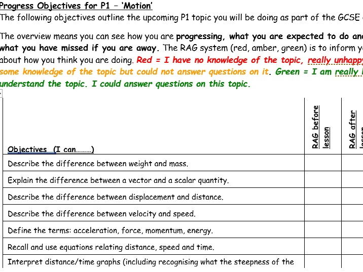 Edexcel GCSE 9-1 Combined Science Physics Progress Sheets