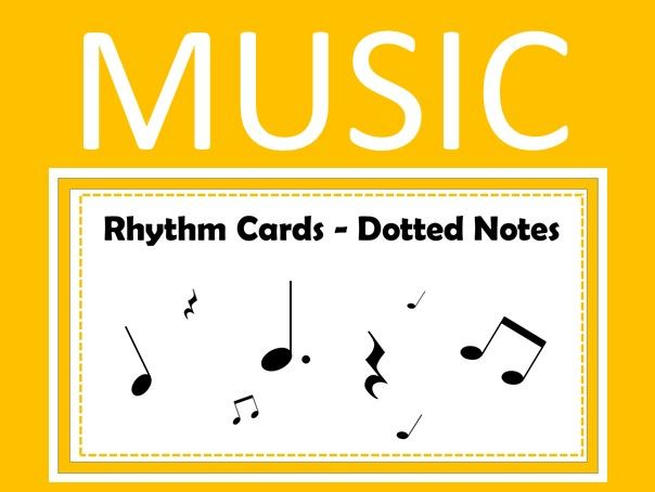 Music Rhythm Cards - Dotted Notes with Audio and Quiz