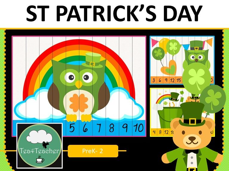 St Patrick's Day Number Recognition Counting Multiplication Puzzles