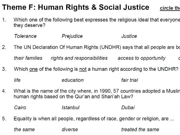 Human Rights & Social Justice (Theme F: AQA GCSE Religious Studies) - multiple choice test