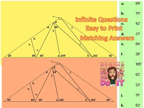 Angles in a Triangle within a Triangle, and Angles on a Straight Line; Worksheet Generator; Answers