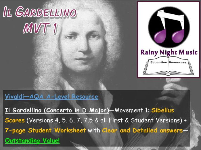 VIVALDI IL GARDELLINO MVT 1 Teaching and Learning Work Pack AQA A Level Music Area of Study 1