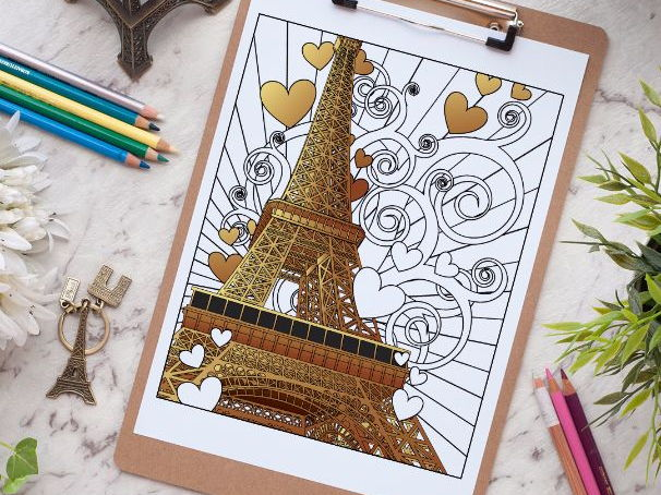"""Paris Eiffel Tower Coloring Page 