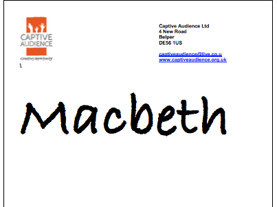 Macbeth play script and staging ideas (suitable for UKS2 primary and secondary KS3)