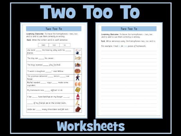 To, Too, Two Homophones Worksheet