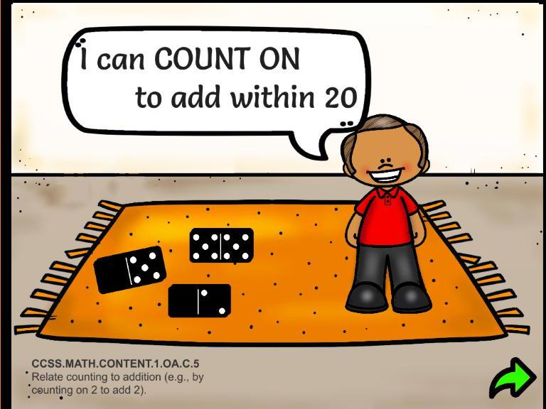 """Count On"" Addition with Dominoes: 2's, 5's, 10's ActivInspire Flipchart"