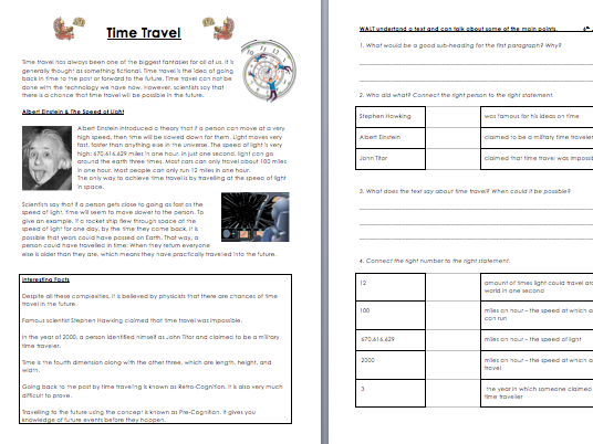 Science Time Travel Comprehension and Activity