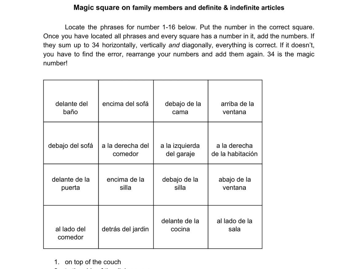 3 magic squares on stem changing verbs, idioms of tener and prepositions and furniture
