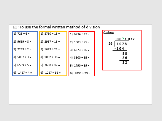 Long division year 6 (2 lessons)