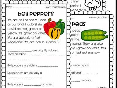 Reading Comprehension - vegetables