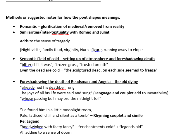 AQA Lit B Method Notes for The Eve of St Agnes Keats