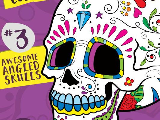 Sugar Skull Color Fun #3 – Awesome Angled Skulls {Coloring Book} by ...