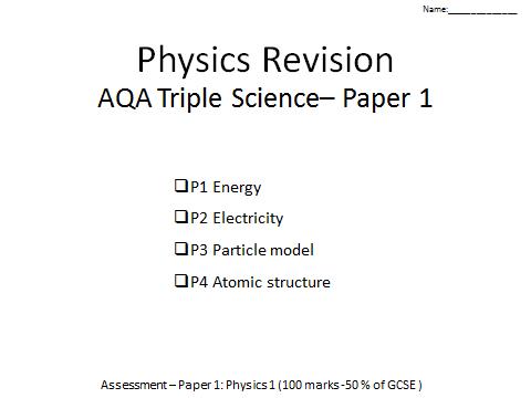 AQA Physics GCSE revision P1-4