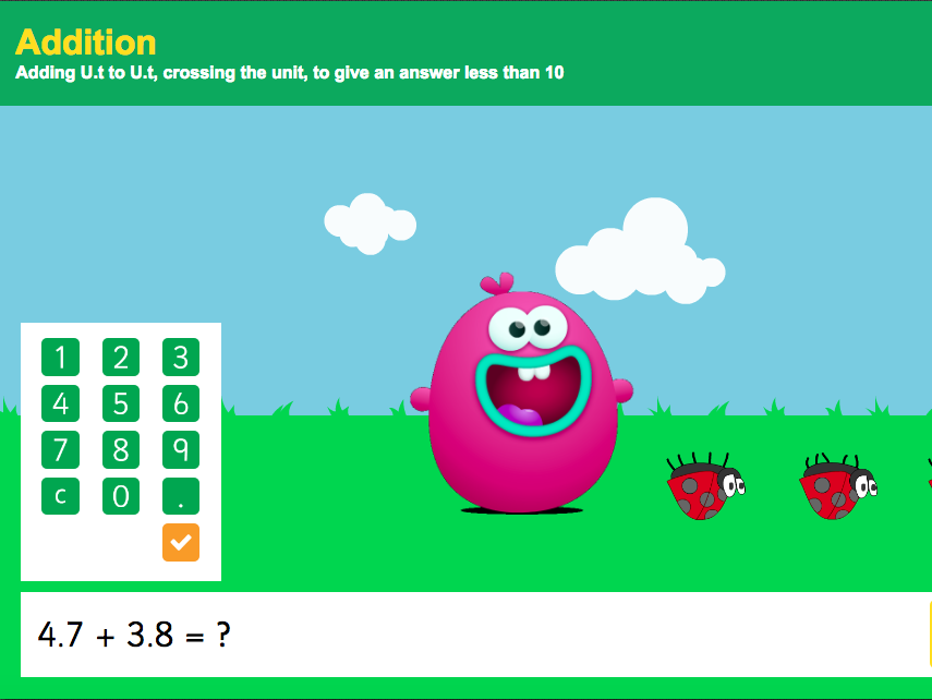 Addition with Decimals: Tenths - Interactive Game 4 - KS2 Number