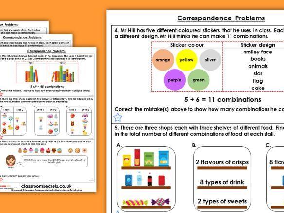 Year 4 Correspondence Problems Spring Block 1 Maths Homework Extension