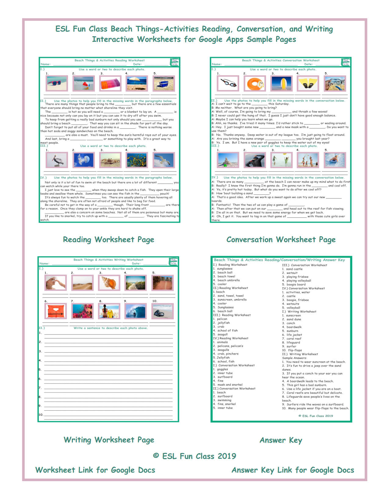 Beach Things-Activities Read-Converse-Write Interactive Worksheets for  Google Apps