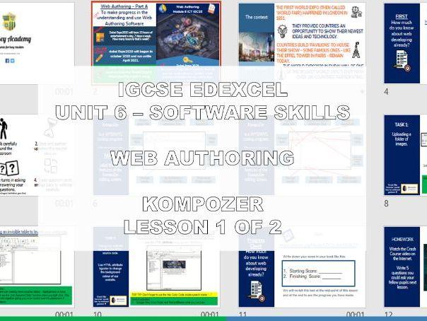 EDEXCEL IGCSE ICT – UNIT 6 WEB AUTHORING (KOMPOZER, TABLES, HEX COLOR CODES) 1 of 2 DUBAI EXP 2020