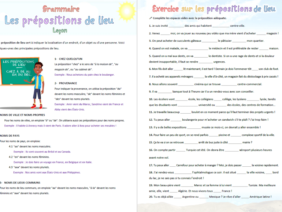 [French grammar] Place prepositions: Lesson + Exercise (20 sentences, 43 blank spaces)