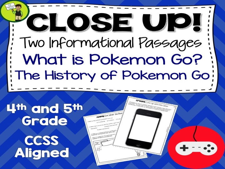 Pokemon Go Reading Passages with Text Dependent Questions - US