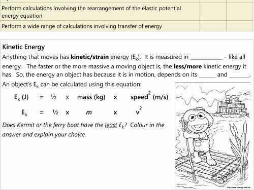 GCSE AQA P1.5 Kinetic energy and elastic energy stores workbook NEW SPEC