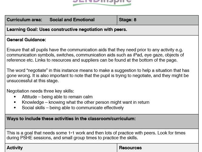 SEND: Social and emotional: Pupil uses negotiation with peers