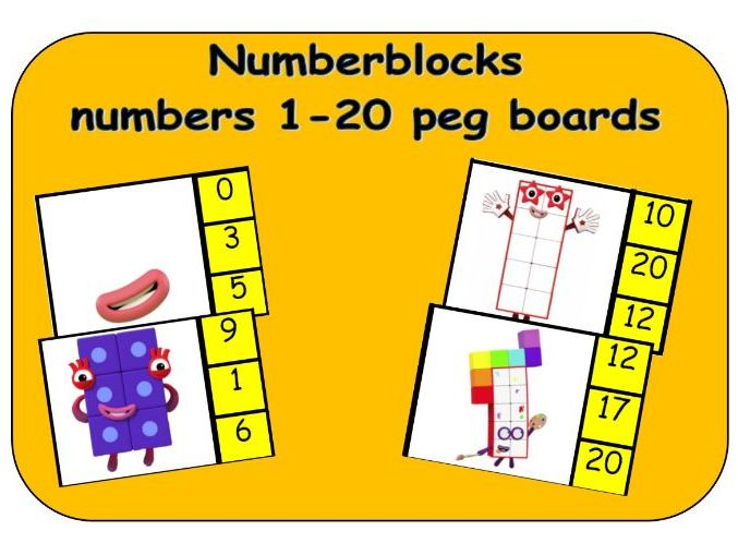 Numberblocks numbers 1-20 peg boards - match the picture to the number