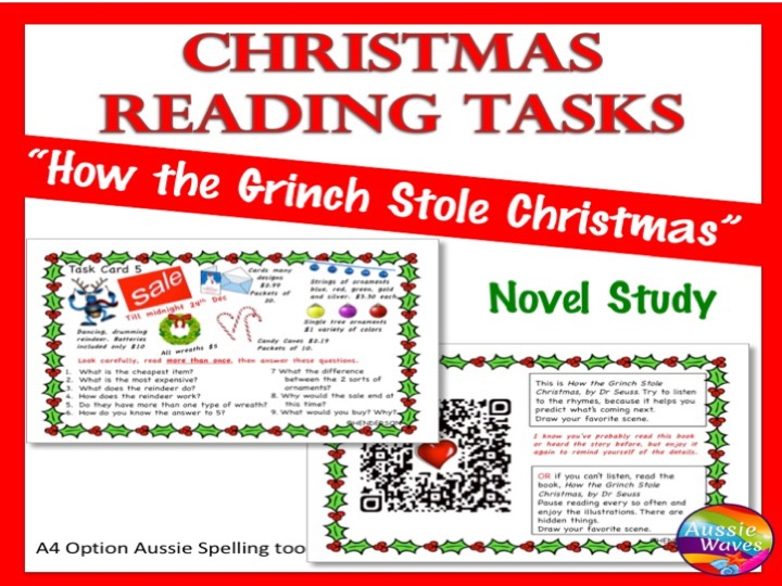 CHRISTMAS READING Task Cards for Literacy Centre Activities The Grinch Christmas SET 2