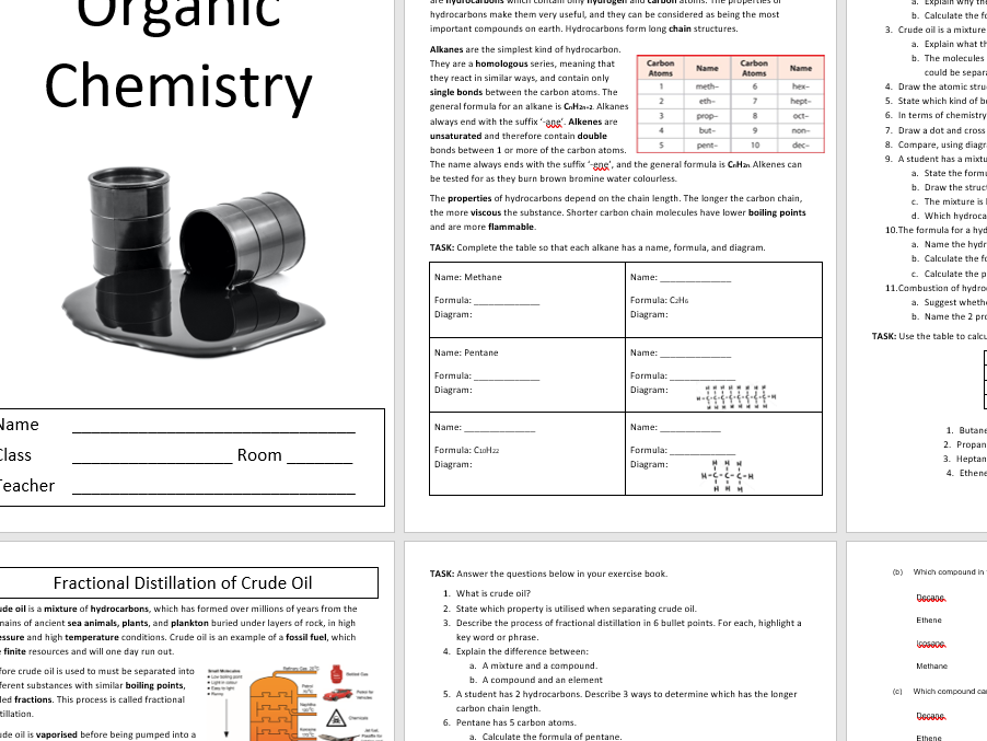 C5.1 Organic Chemistry and Crude Oil Complete Booklet