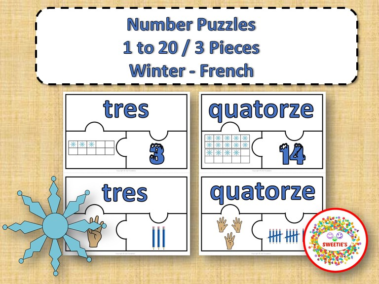 Number Puzzles 1 - 20 - Winter Theme - 3 Puzzle Pieces - French - Les Nombres